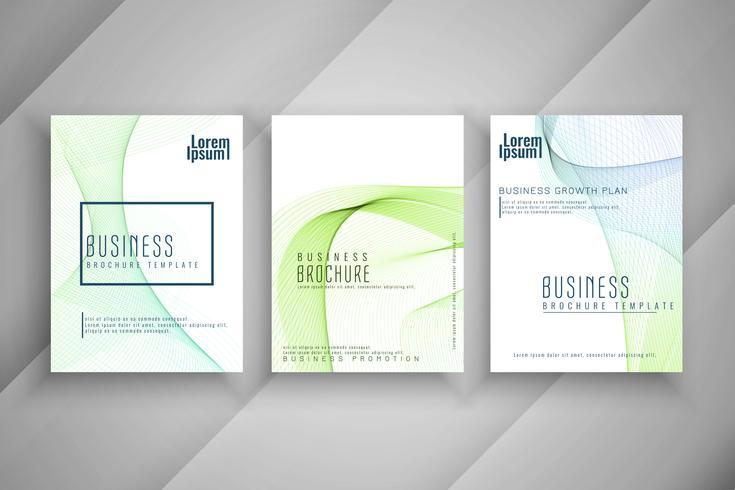 Ensemble de conception de modèle de brochure abstrait affaires ondulées coloré