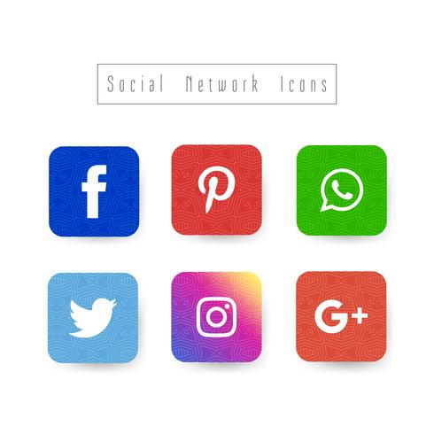 Abstract elegant social network icons set