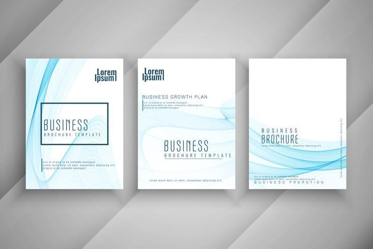 Conjunto de design de modelo abstrato azul ondulado negócios brochura