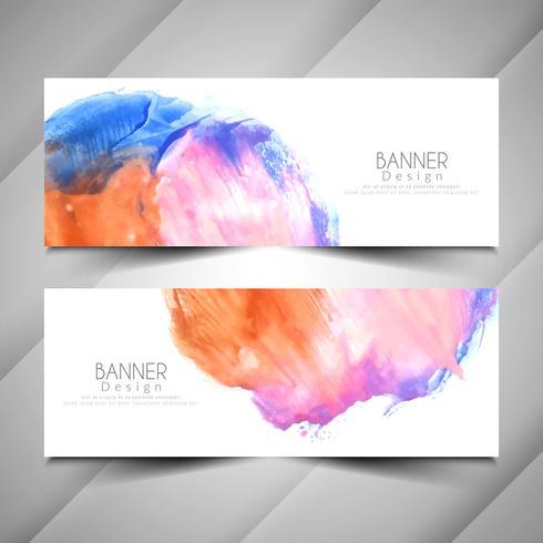 Abstrakt modern vattenfärg stil banners design set