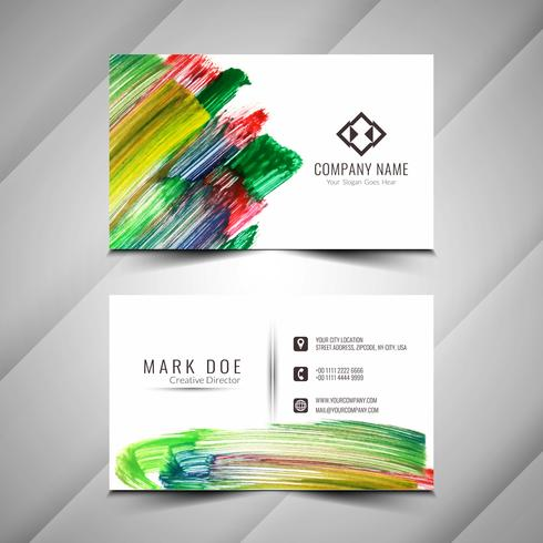 Abstract colorful watercolor elegant business card design templa vector