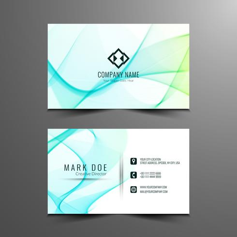 Abstract wavy business card design template vector