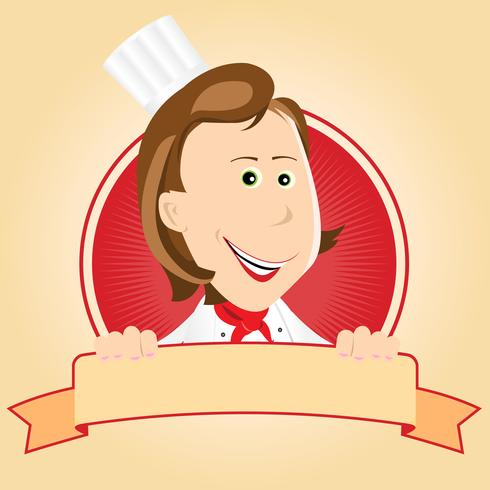 Food Banner - Chef Woman vector
