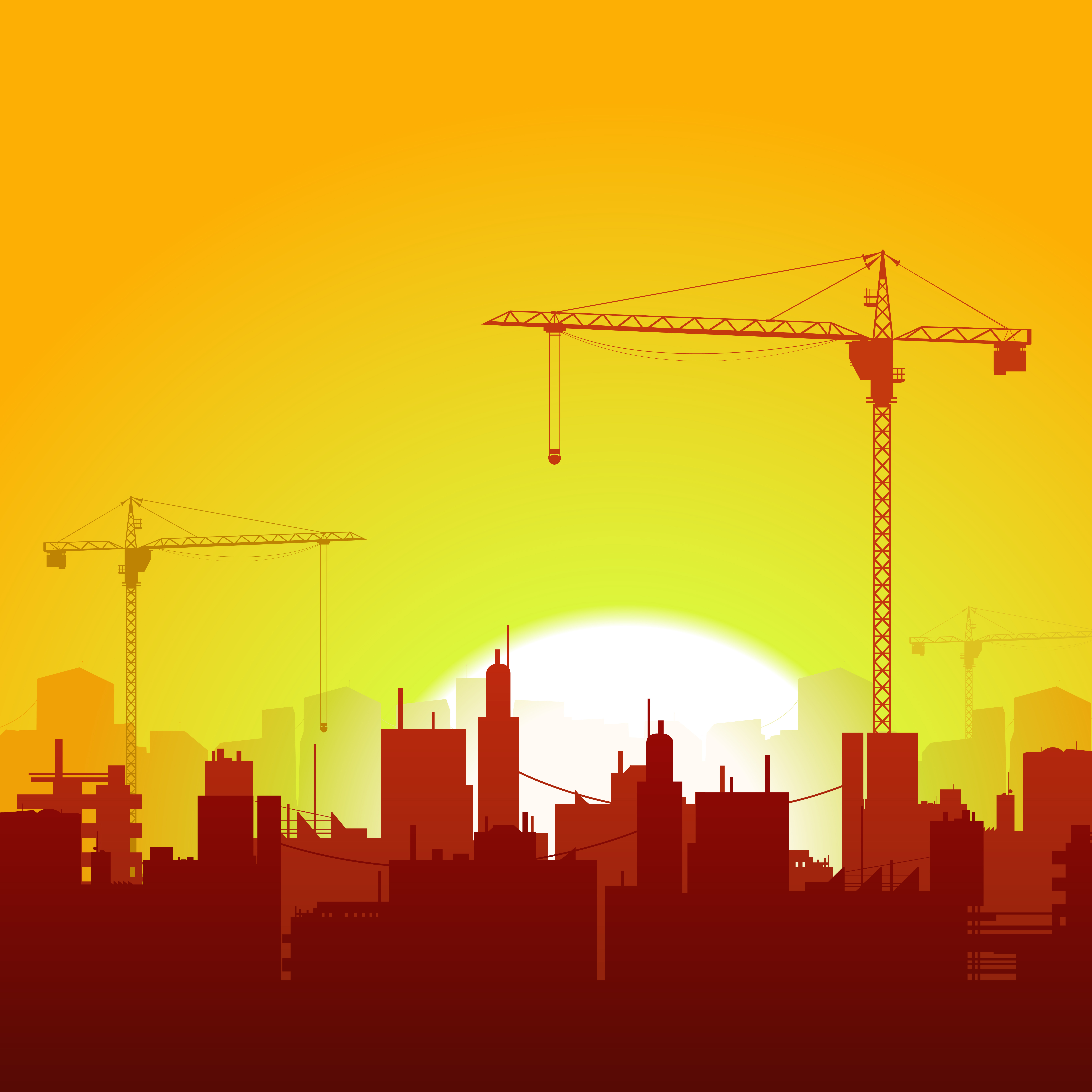 Sunrise Cranes And Construction Background - Download Free ...