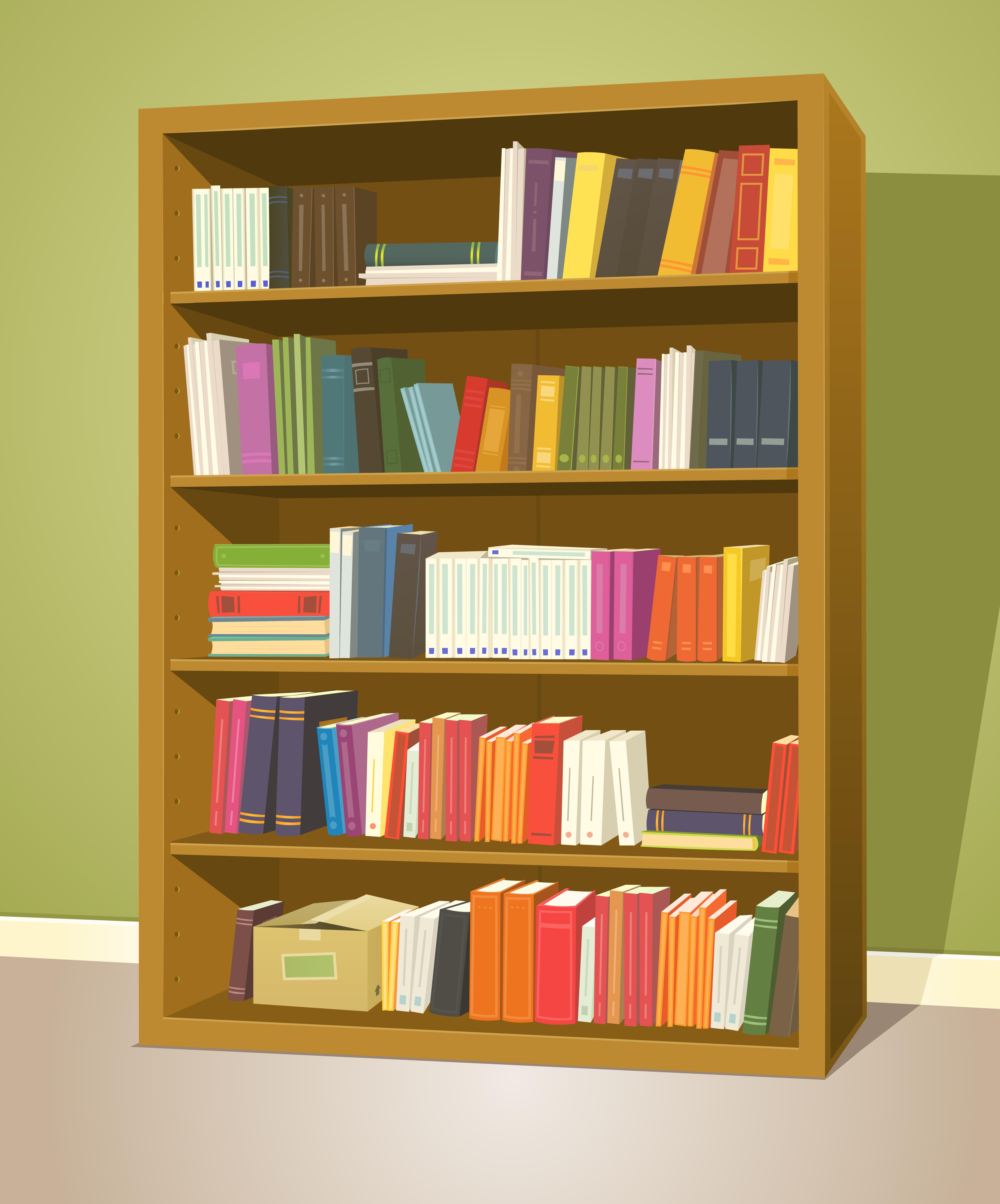 Library Bookshelf - Download Free Vectors, Clipart ...