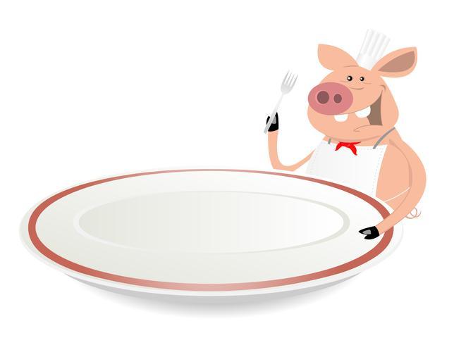 Cuoco del maiale che mostra menu sulle stoviglie