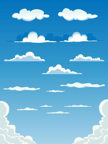 tecknade moln set