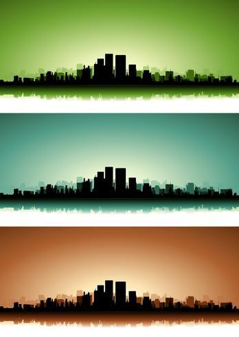 Conjunto de Banner de paisagem urbana de verão