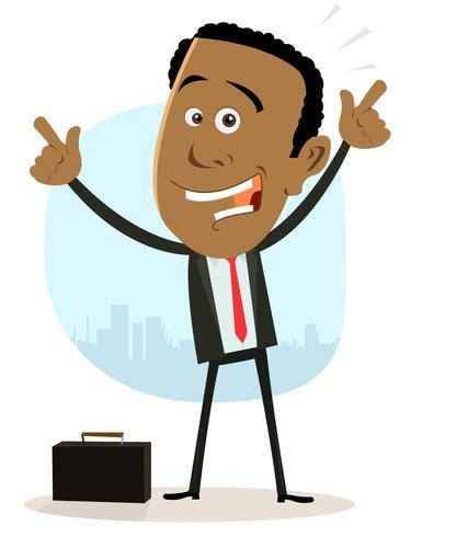 Hombre de negocios africano feliz fresco