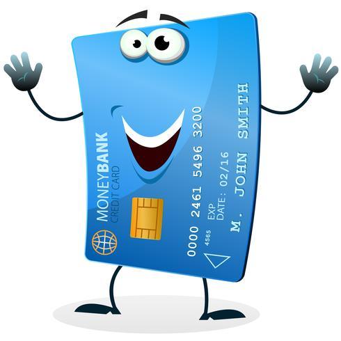 Carácter de tarjeta de crédito de dibujos animados