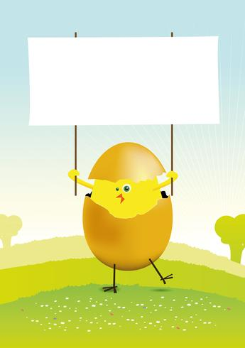Pequeño pollo de Pascua en un paisaje de primavera