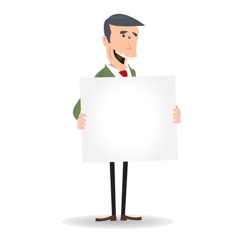 Empresario blanco de dibujos animados en blanco muestra