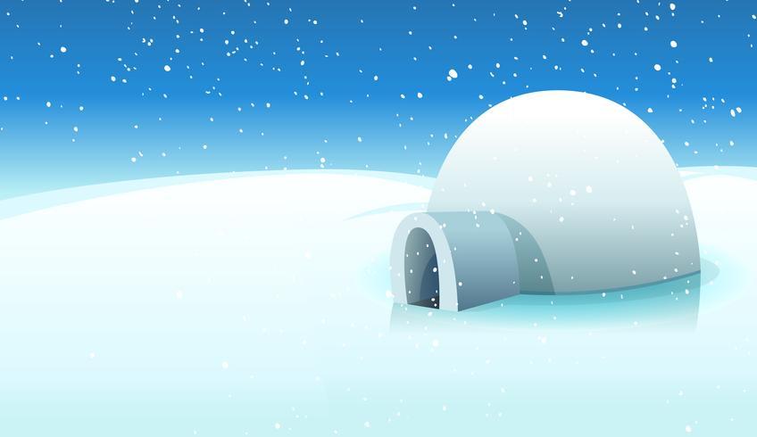 Igloo And Polar Icy Background