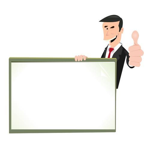 Cartoon branco sinal em branco de empresário