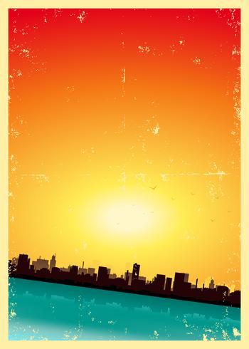 Grunge Sommer oder Frühlings-vertikale Stadtlandschaft