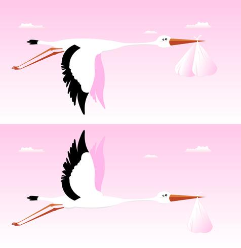 Storch, der Baby liefert - es ist ein Mädchen