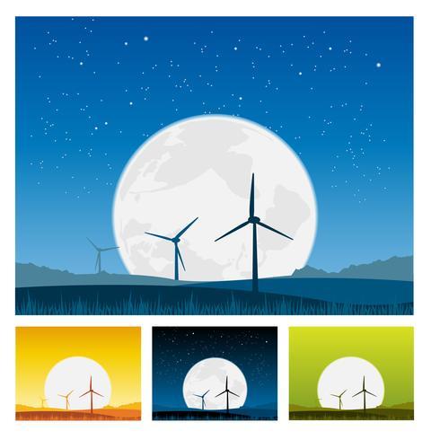 Windmühlen in der Landschaft bei Nacht