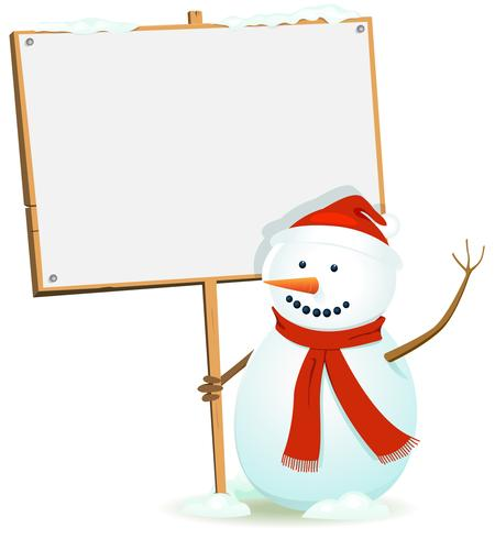 Santa Snowman Holding WOod Sign vector