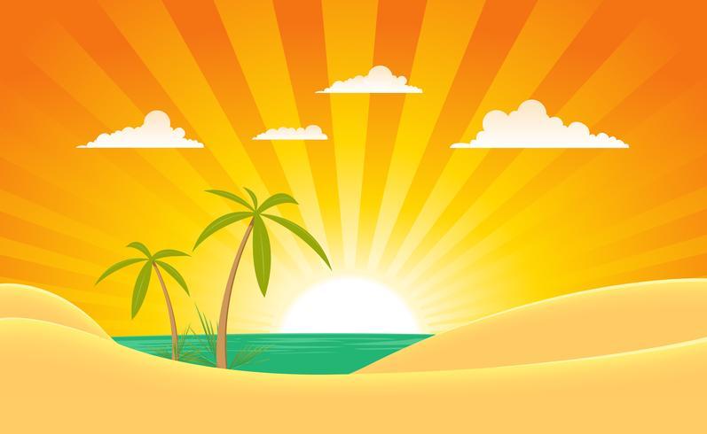 Banner di paesaggio estivo oceano vettore