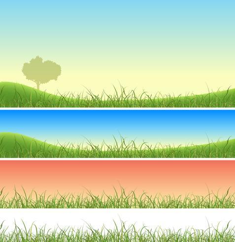 Conjunto de paisagem de grama verde primavera