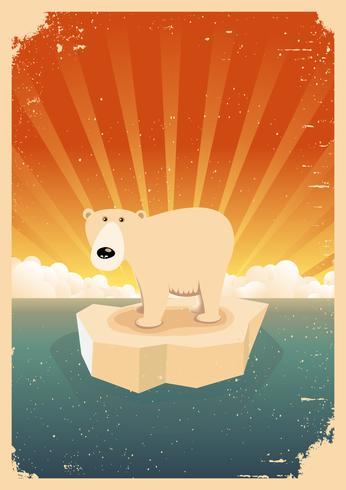 Den vita isbjörnen tappninggrungeaffischen vektor