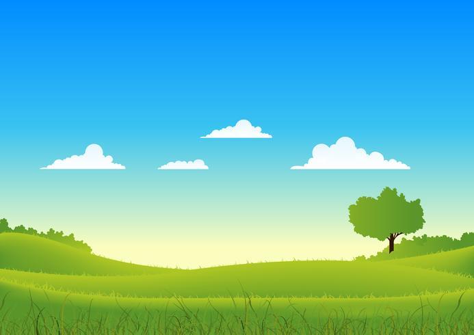 Paisaje de primavera y verano del país vector