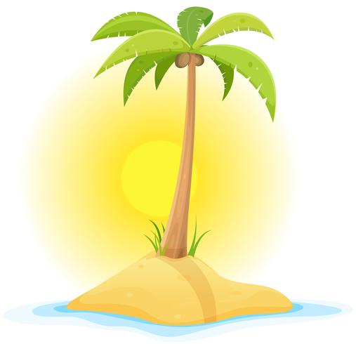 palm på tropisk öken ö