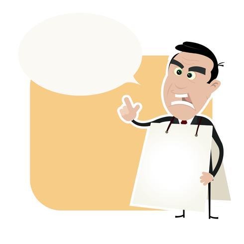 arg vit affärsman som håller en smörgåsbräda
