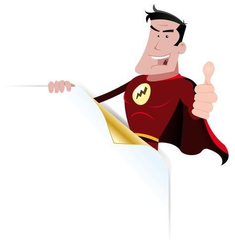 komisk superhjälte banner vektor