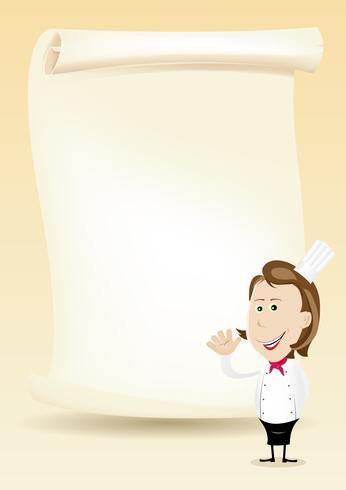 Mulher, cozinheiro, restaurante, cartaz, menu, fundo