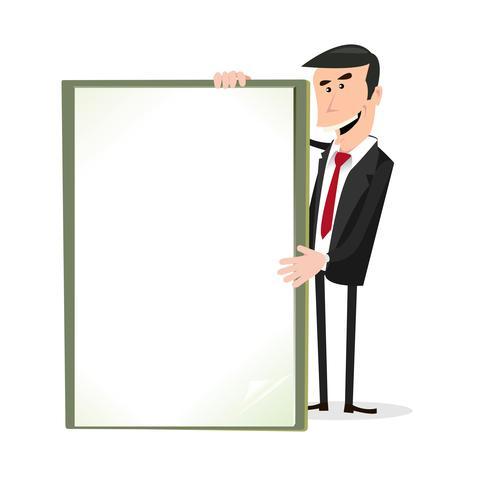 Empresario de dibujos animados blanco con un cartel en blanco