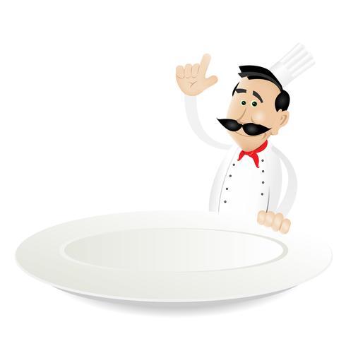 menu de chef tenant un plat vecteur