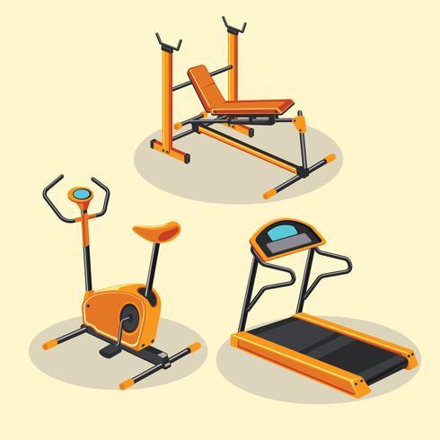 Conjunto de diferentes equipamentos de ginástica ou Fitness e aparelhos de treinamento