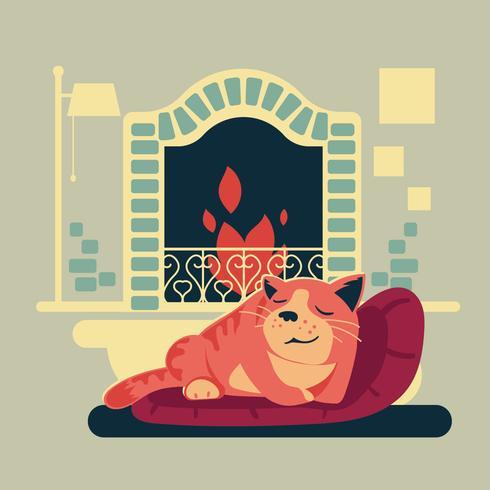 Illustration av katt eller husdjur i ett hus nära eldstaden
