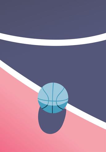Basketball on Field Vector Design