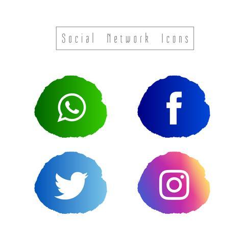 Sammanfattning sociala nätverk ikoner uppsättning