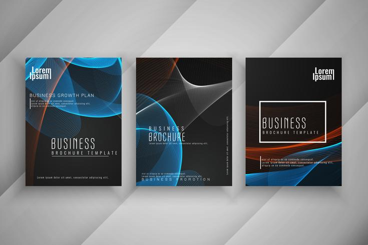 Abstract stylish business brochure wavy template design set vector