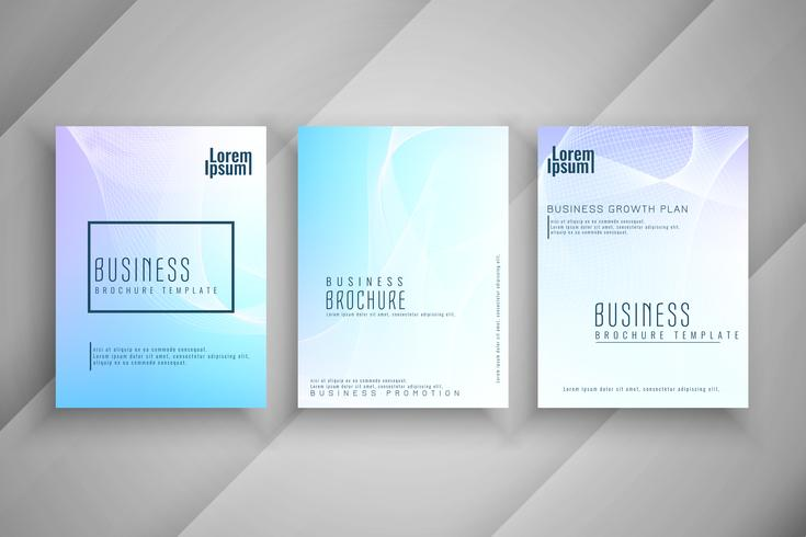 Conjunto de design de brochura de negócios ondulado colorido abstrato