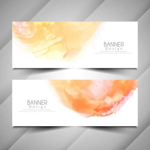 Conjunto de design abstrato elegante estilo aquarela banners