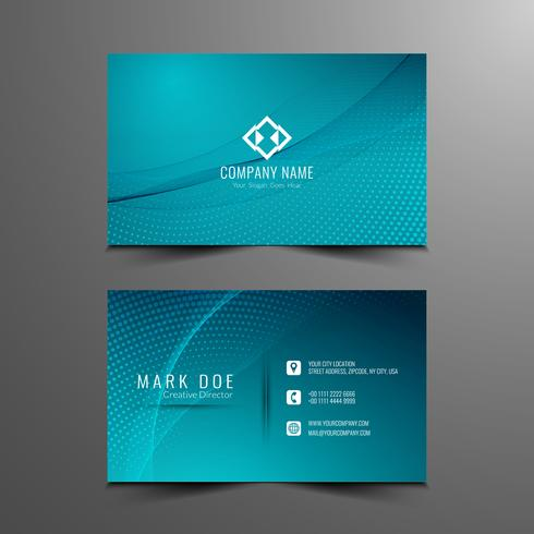 Abstract modern stylish wavy business card template design vector