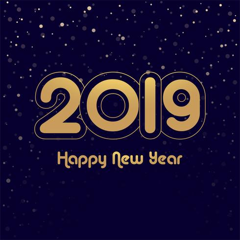 elegant colorful shiny 2019 happy new year card design vector