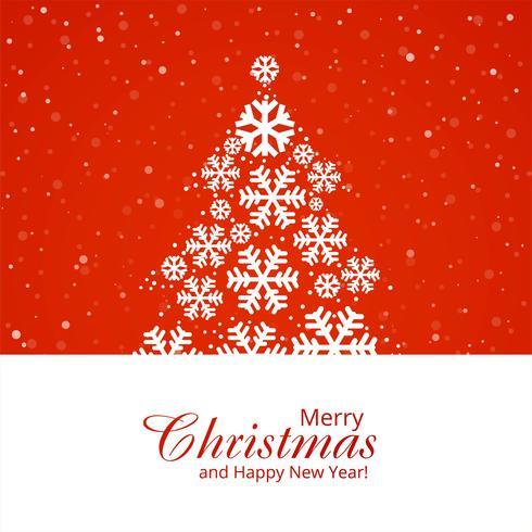 Bela árvore de floco de neve feliz Natal festival em backgro vermelho