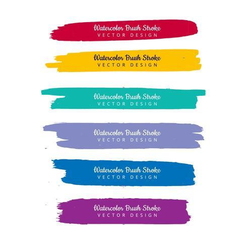 Watercolor colorful hand draw stroke set design vector