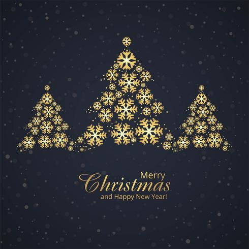 Beautiful festival merry christmas snowflake with golden tree de