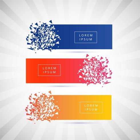 Mooie gebroken banner kleurrijke set vector