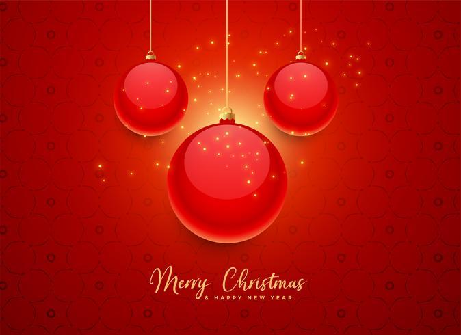 fundo de bolas de Natal linda vermelha