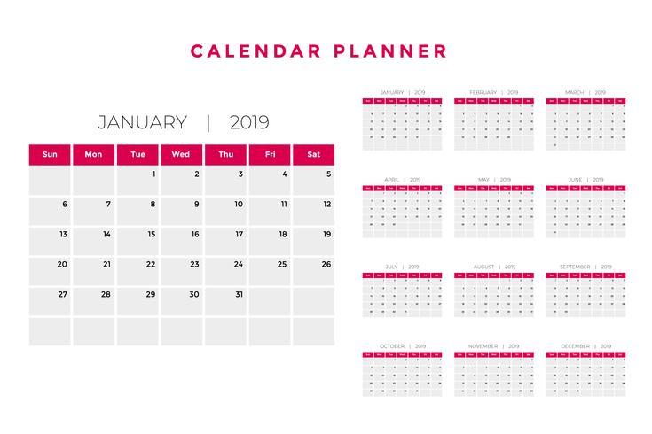 2019 calendar planner template design