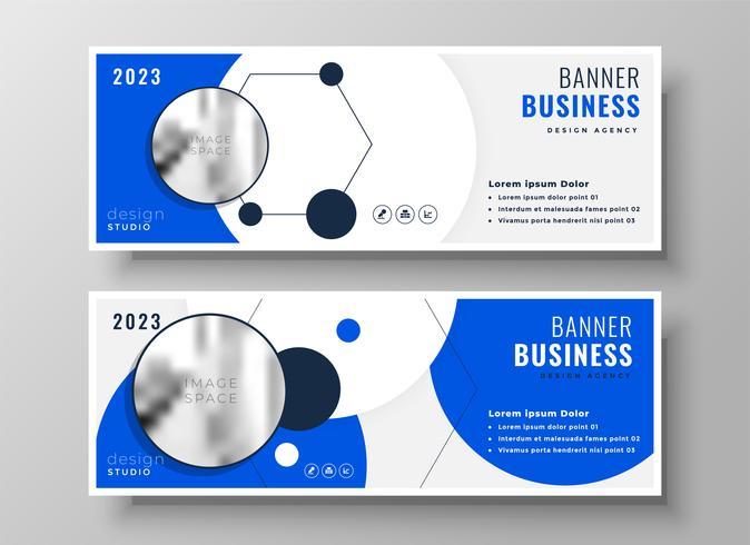 Diseño de banner de presentación de negocios profesional azul moderno