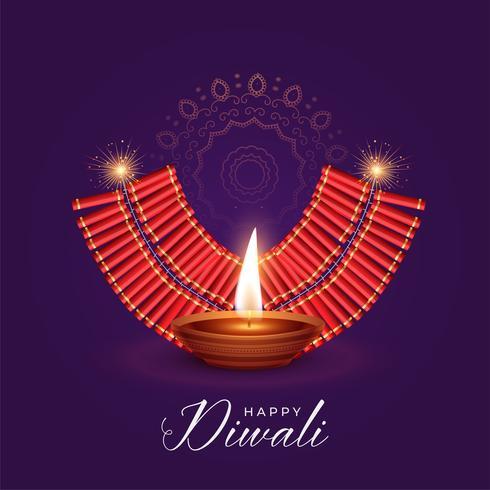 illustratie van diya en kraker branden voor diwali festival