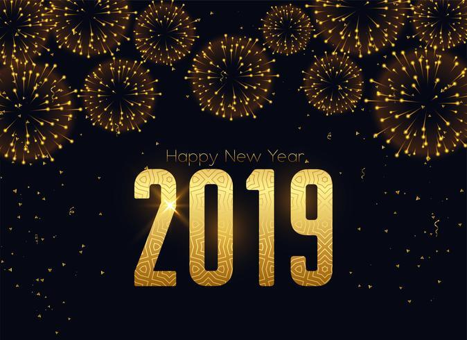bonne nouvelle 2019 année fond de célébration de feux d'artifice